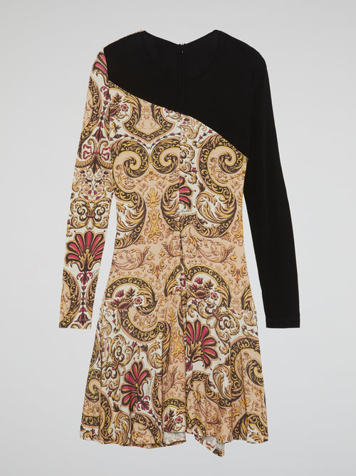 Paisley Print Long Sleeve Dress