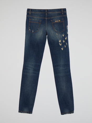 Leopard Effect Distressed Jeans