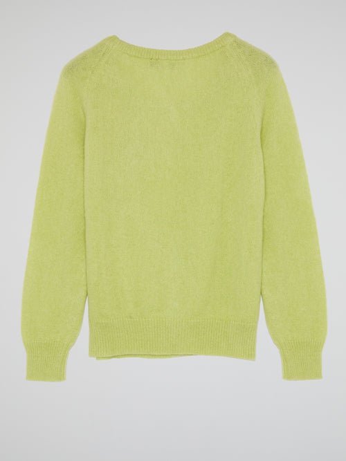 Green Embellished Knit Sweater