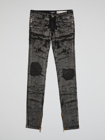 Grey Zip-Detail Distressed Pants