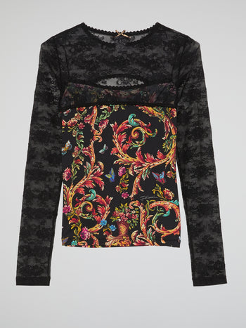 Paisley Print Lace Panel Top