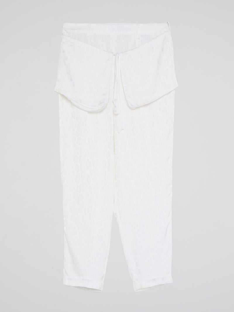 White Printed Flap Trousers