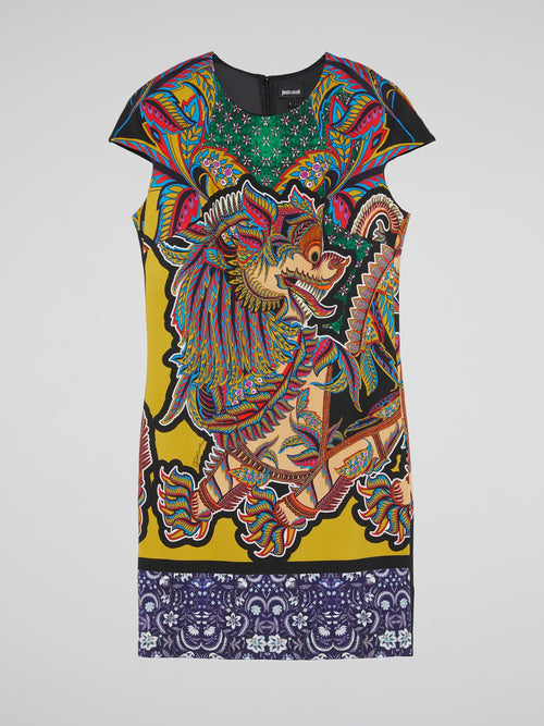 Oriental Print Cut-Out Dress
