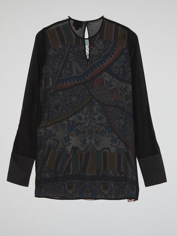 Oriental Print Long Sleeve Top