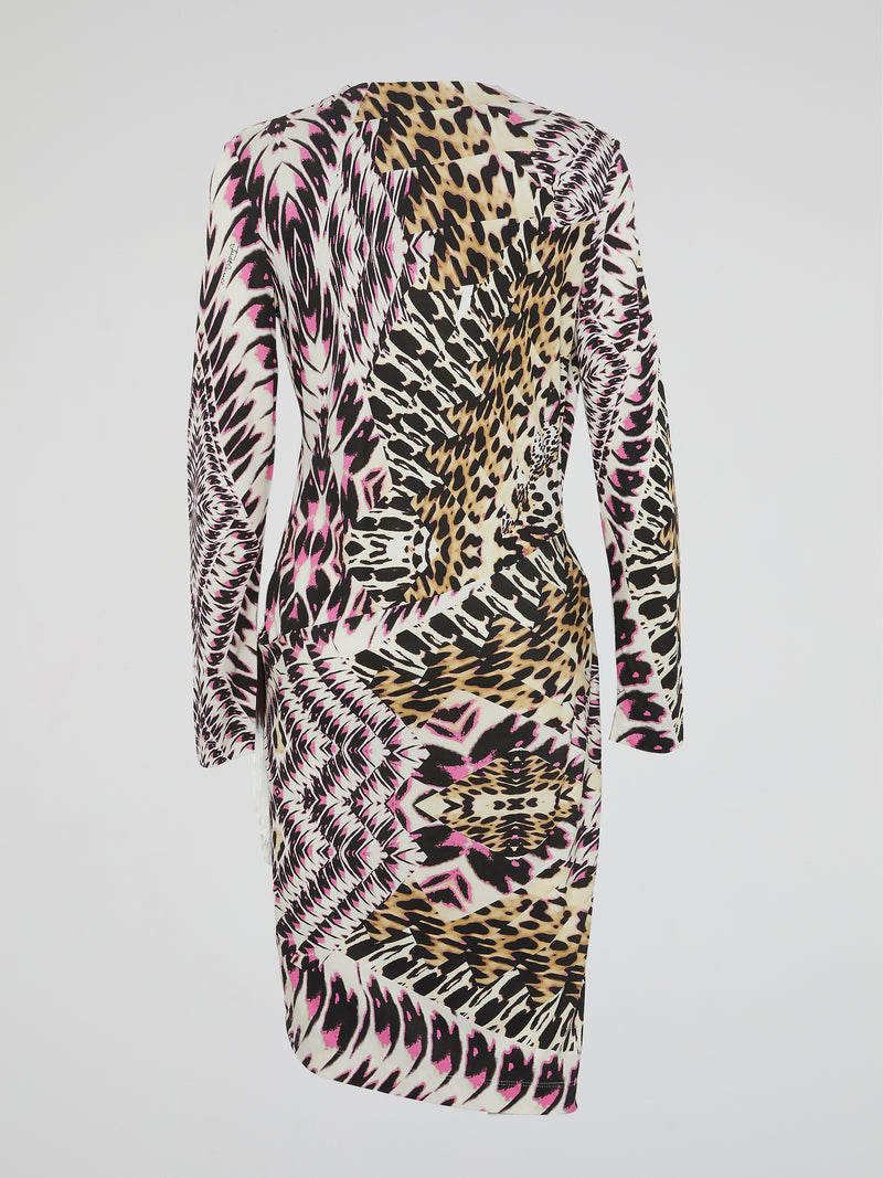 Animal Print Fringe-Detail Dress