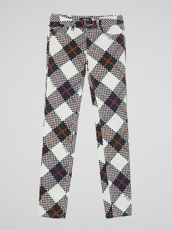 Plaid Straight Leg Jeans
