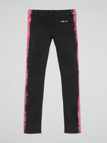 Black Contrast Side Print Jeans
