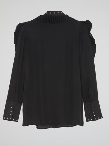 Black Frill-Detail Blouse