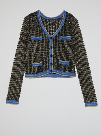 Button-Up Tweed Cardigan