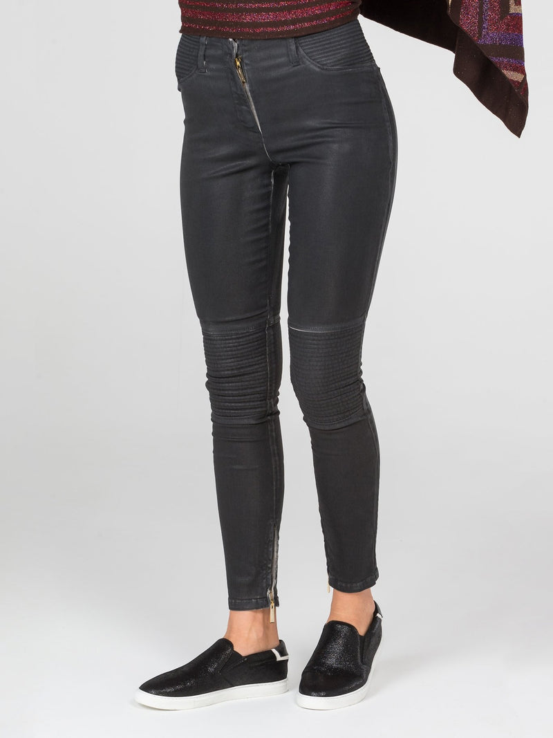 Black Skinny Zipper Pants