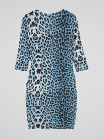Blue Leopard Print Scoop Neck Dress