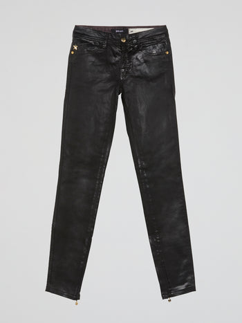 Black Glossy Slim Fit Jeans
