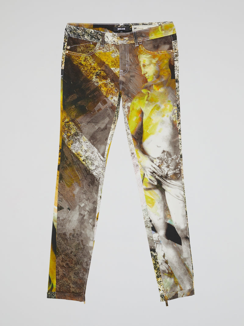 Graphic Print Slim Fit Jeans