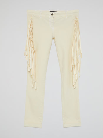 White Fringe-Detail Trousers