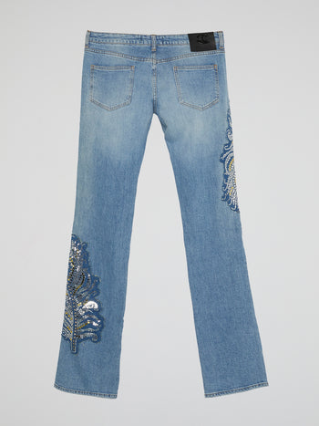 Blue Studded Denim Jeans