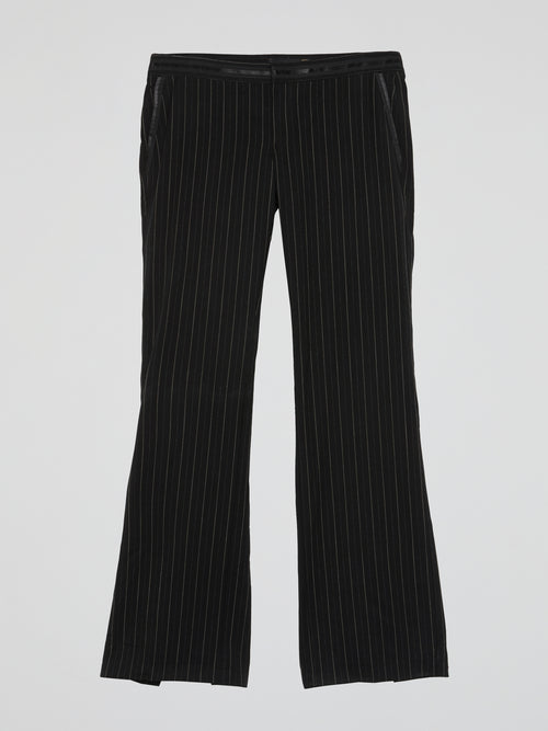 Black Pinstripe Slit Pants