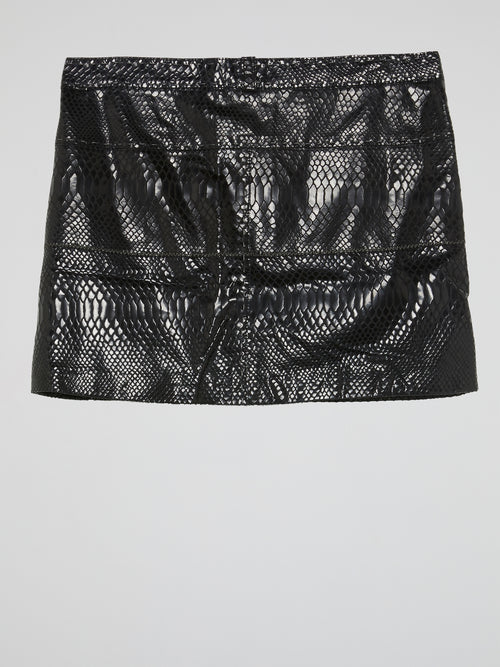 Black Snake Effect Leather Mini Skirt