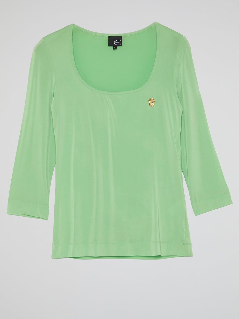 Green Scoop Neck Top
