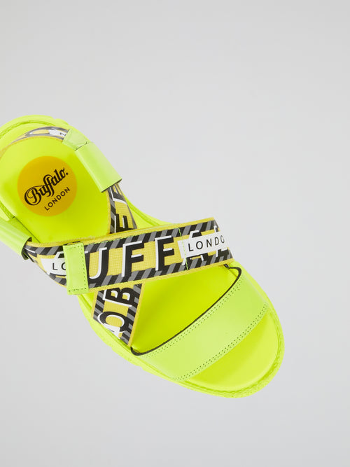 Neon Yellow Cross Strap Sandals
