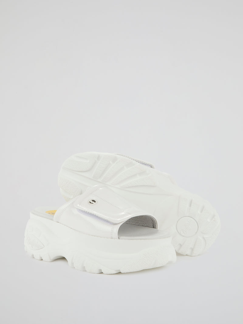 White Classic Leather Slides