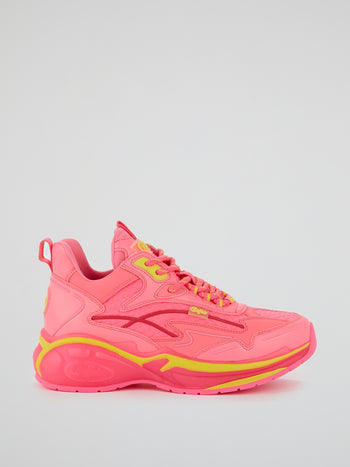 Neon Pink Lace Up Sneakers