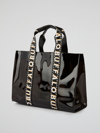 Haya Black Patent Leather Tote Bag