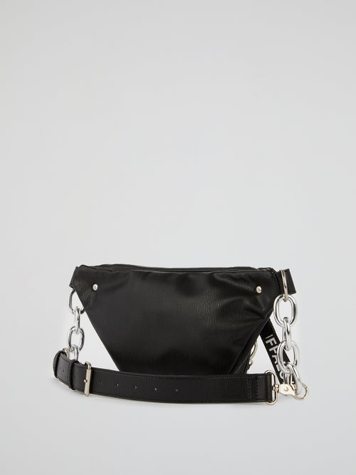 Heather Black Leather Bumbag