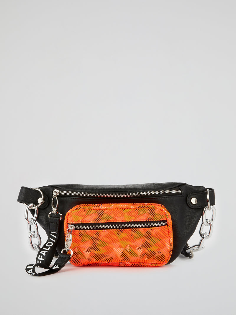 Heather Orange Panel Leather Bumbag