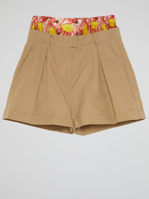 Brown Contrast Waist Shorts