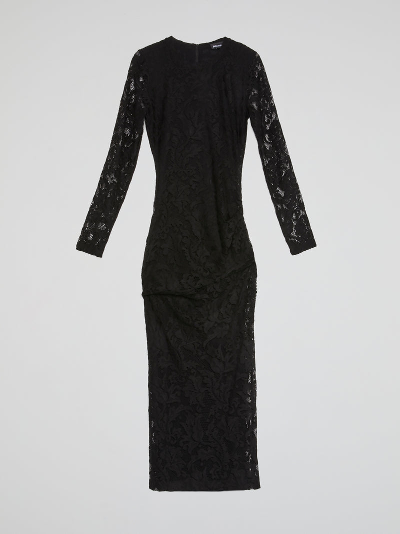 Black Paisley Lace Midi Dress