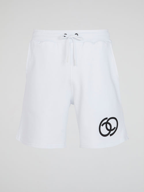 White Logo Active Shorts