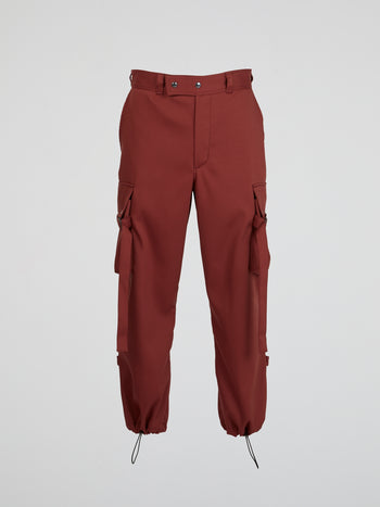 Burgundy Drawstring Cargo Pants