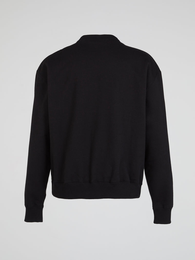 Black Statement Crewneck Sweatshirt