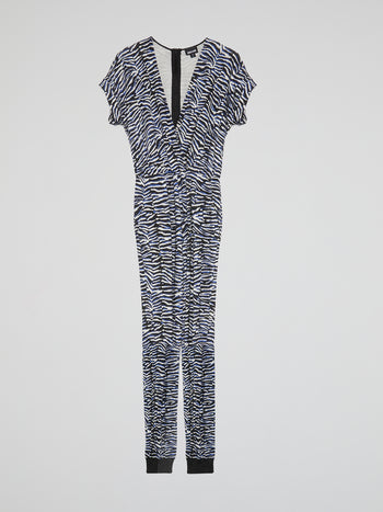 Animal Print Rear Zip Jumpsuit