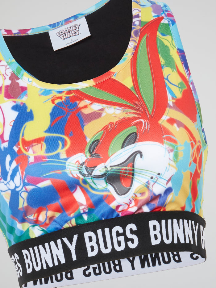 Bugs Bunny Abstract Print Sports Bra