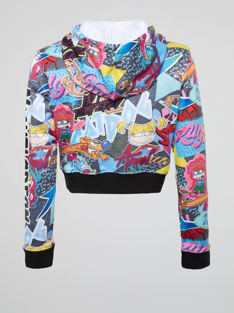I Love The 90s Abstract Print Cropped Hoodie