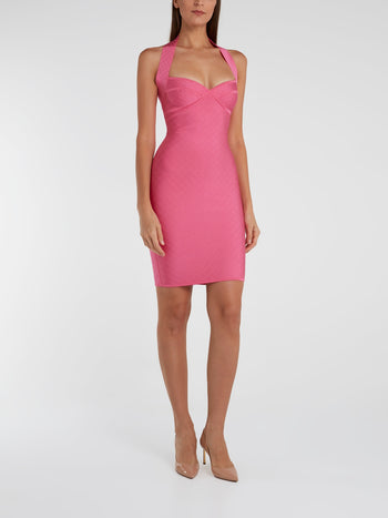 Pink Textured Bodycon Dress