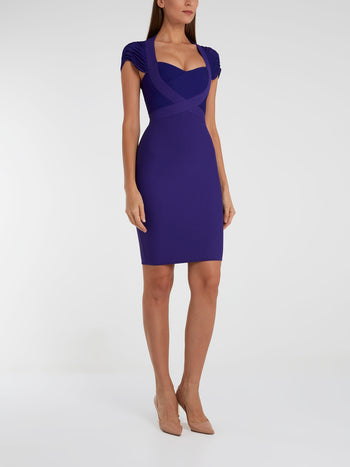Purple Queen Anne Neckline Bodycon Dress