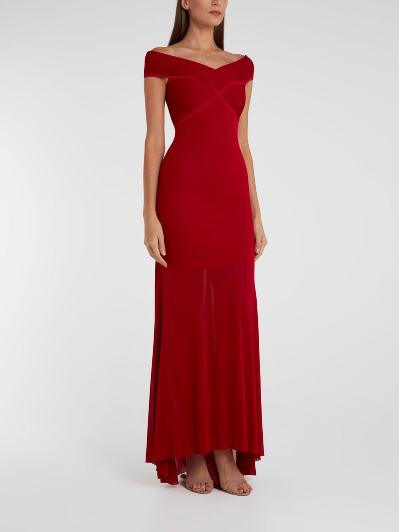 Red Off-The-Shoulder Maxi Dress