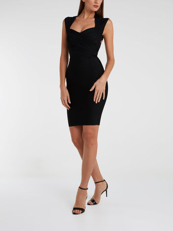 Black Queen Anne Neckline Bodycon Dress