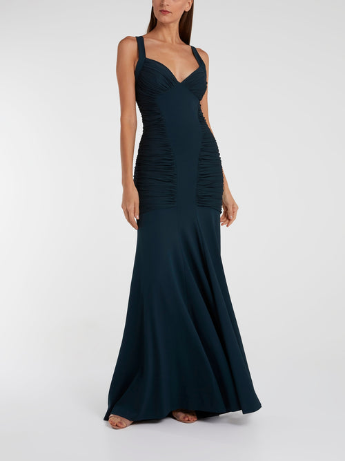 Navy Ruched Long Tail Maxi Dress