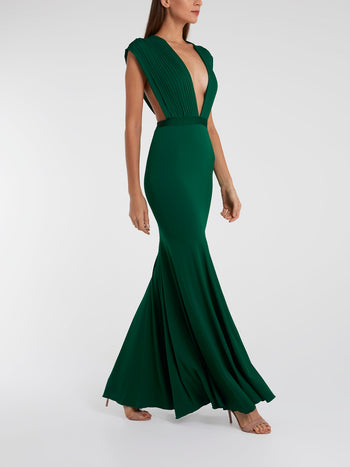 Green Pleated Plunge Maxi Dress