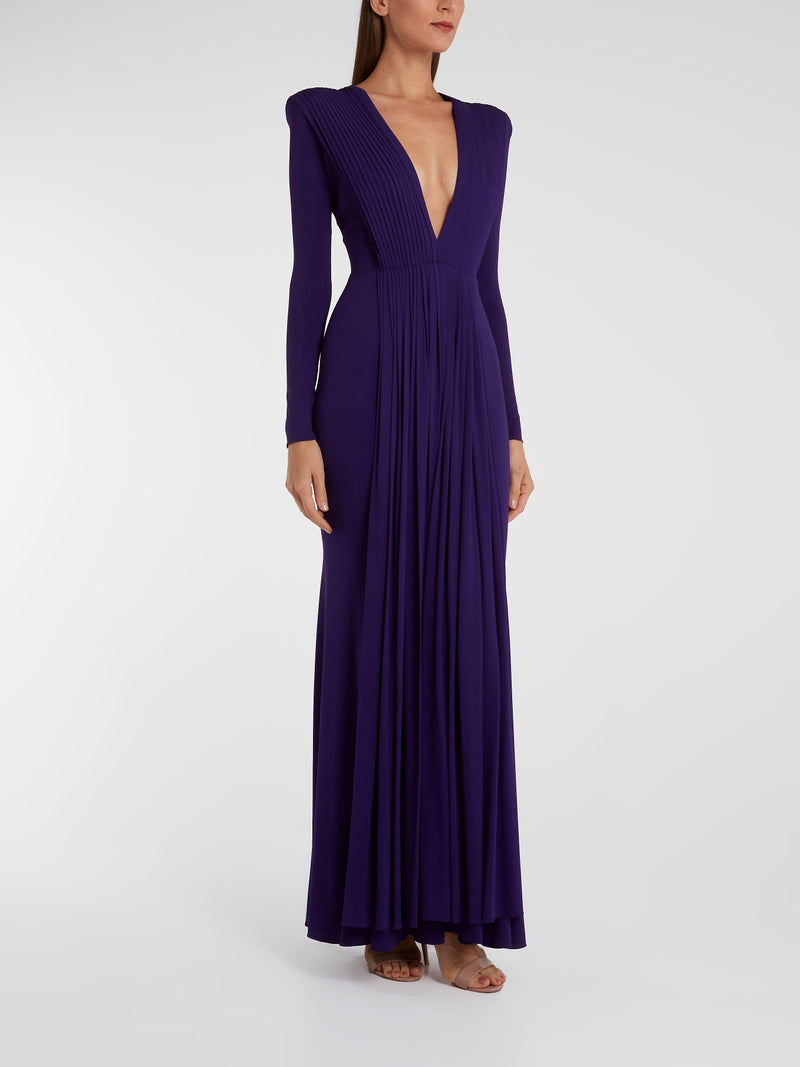 Purple Pleated Long Sleeve Maxi Dress