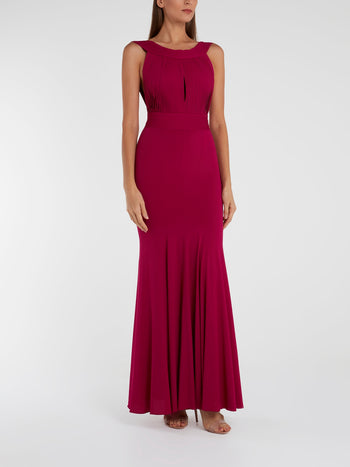 Burgundy Portrait Neckline Maxi Dress