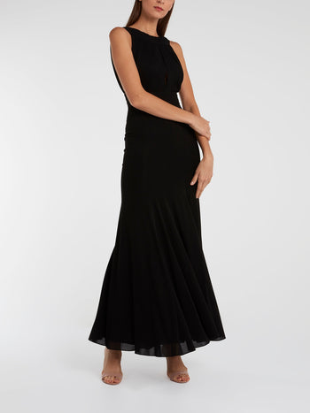 Black Portrait Neckline Maxi Dress