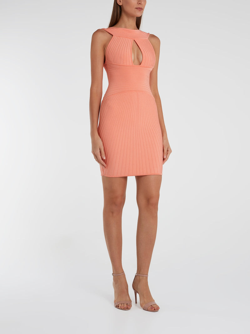 Pink Keyhole Bodycon Dress