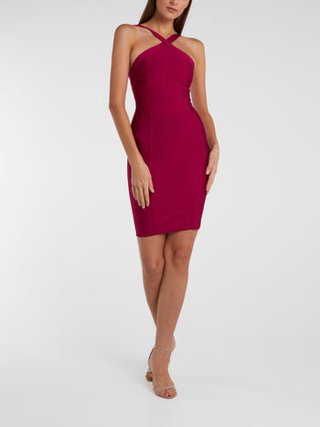 Burgundy Halter Neck Bodycon Dress