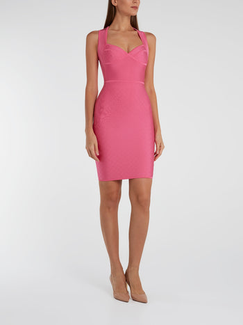 Pink Textured Sheath Dress