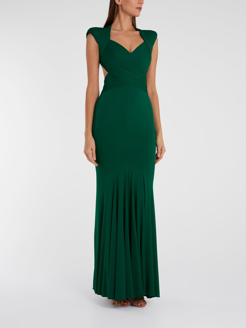 Emerald Pleat Detailed Maxi Dress