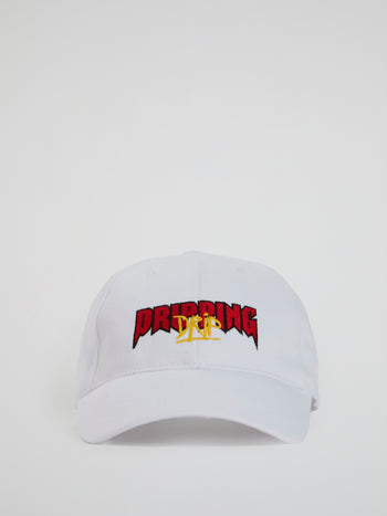 White Embroidered Statement Baseball Cap